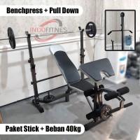 Paket Lengkap Bench Press Stick dan Beban 40kg - Benchpress Gym