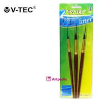V-Tec Fat Liner Brush Set 3 (VT-1002) - Kuas Lukis Fat Liner Vtec Set