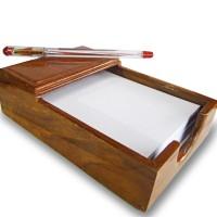 Wooden Paper Note Holder   Tempat Kertas Memo Jati Incl. 1 pack paper
