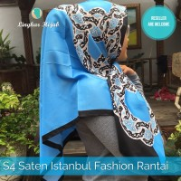 Jilbab Segi Empat Satin Istambul Fashion Rante Harga Grosir Murah