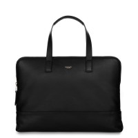 "Knomo REEVES 14"", SLIM LEATHER BRIEFCASE BAG - BLACK"