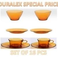 Duralex AMBER SPECIAL SET of 16 pcs