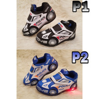 Sepatu anak LED karakter mobil police