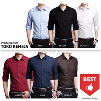 Harga promo kemeja polos pria kb 5 baju cowok formal slimfit semi casual | Pembandingharga.com