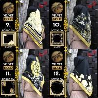 Jilbab Segi Empat Satin Black By Golden / Velvet gold