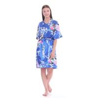 Cynthia Baju Tidur Kimono Set Motif Burung Merak-Biru
