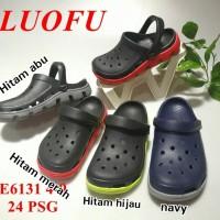 LF6131 luofu sepatu sandal bakpau cowok laki karet polos
