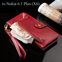 Luxury case for Nokia 6.1 Plus Global Version zipper Wallet design PU