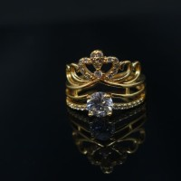 Perhiasan Cincin Kamila Bermahkota dilapis EMAS 18k
