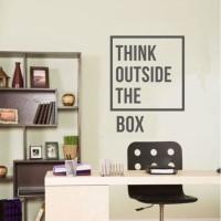 Wall Stiker Dinding Kaca Motivasi Think Out of the Box Kantor Sticker