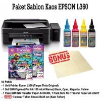 New PRINTER EPSON L360 Paket Sablon Kaos Gelap/Terang Tinta Pigment
