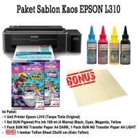 New PRINTER EPSON L310 Paket Sablon Kaos Gelap/Terang Tinta Pigment