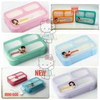Lunch Box Yooyee Mini Kotak Makan Tempat Bekal ANTI TUMPAH 3 sekat