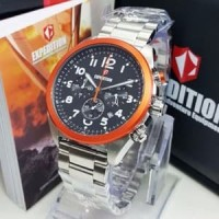 Jam Tangan Expedition E 6653 Rantai Silver Orange Original