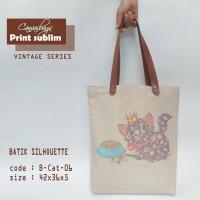 Totebag Natural Canvas Vintage batik siluet Cat Lover (BC-06)