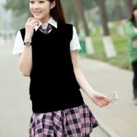 Rompi rajut wanita model polos V Neck Knit Vest Rompi Seragam Sekolah