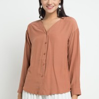 Mineola V Neck Button Blouse Brown (11809102FO)