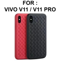 Case Vivo V11 Pro softcase casing cover ultra thin leather grid WOVEN