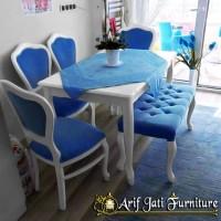 Kursi Makan Cantik Warna Biru, Meja Makan Minimalis Murah