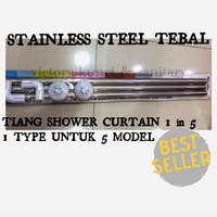 Tiang shower curtain U / L / Lurus, tiang tirai kamar mandi stainless