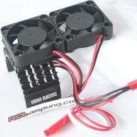Aluminum 540 Motor Heat Sink Cooling Twin Fans Black YA-0408BK
