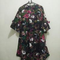 Flower Dress warna navy. Model baby doll. Lengan tulip dengan pita k