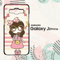 Casing Samsung Galaxy J2 Prime Custom HP Cute Girl Pink L0127