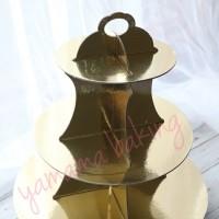 TK-0033 Cupcake stand cake tier karakter dessert table gold emas