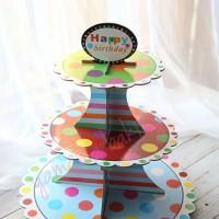 TK-0029 Cupcake stand cake tier karakter dessert meja polkadot rainbow