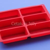 Cetakan Silikon Kue / Puding Rectangular Box 6 cavity