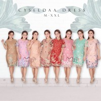 Review Cryselda Dress Pesta Brukat Lace Tile Dress Midi Gaun Pesta
