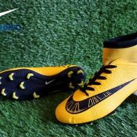 sepatu sepak bola pria nike mercurial CR7 yellow black high termurah