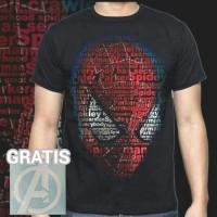 0d0397718 Kaos Spiderman Typo GRATIS Stiker Logo Avengers