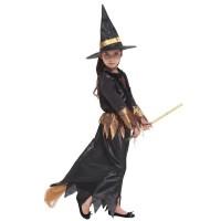 Kostum Penyihir Anak Perempuan Warna Hitam untuk Cosplay Halloween
