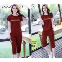 5131 baju cewek stelan pakaian rumahan merah maroon murah baju santai