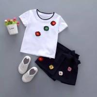 Setelan Baju Anak Perempuan / Celana Pendek - Bunga