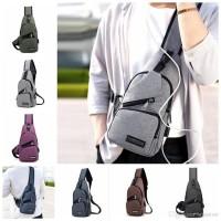 Tas sling Bag USB Cross body pack Selempang Slempang chest bahu canvas