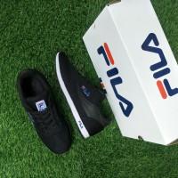 Sepatu Fila Jogging Pria Grade Ori / Black Hitam Olahraga Sekolah Gym