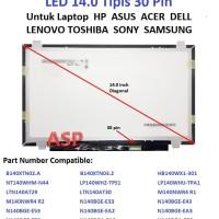 LCD LED 14.0 Inch Slim Tipis 30 Pin untuk Laptop Acer HP Asus Lenovo
