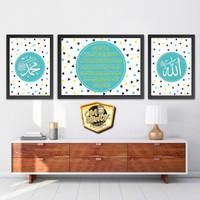 Set Poster Kaligrafi Allah Muhammad Ayat Kursi 7 - Scandinavia