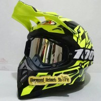 Paket Helm cross JPX Crossline Yellow Fluo Goggle 100 Percent Black
