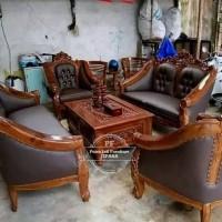 Meja Kursi Ukir, Sofa Ruang Tamu Kayu Jati Free Ongkir