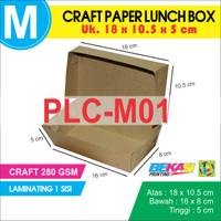 Craft Paper Lunch Box / Kotak Makan Polos Ukuran M + Laminating Dalam