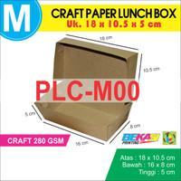 Paper Lunch Box Kraft Liner 280 GSM Ukuran M (18 x 10.5 x 5 cm)