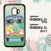 Casing Samsung Galaxy J2 Pro HP Hippie Cats Road Trip! L2171