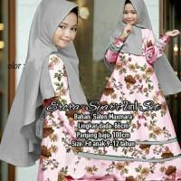 Baju Muslim Gamis Anak / Setelan Hijab Eropa Syari Kids Abu Grey