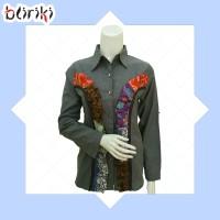 BW25 Kemeja Katun Kombinasi Batik Cap Ruffles Lengan Panjang Wanita