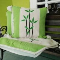 Murah Sarung Bantal Kursi Set Tenun Bambu Hijau