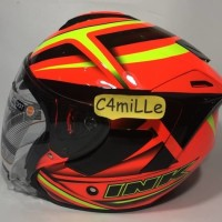 Promo HELM INK DYNAMIC MOTIF 1 RED FLUO YELLOW FLUO HALF FACE