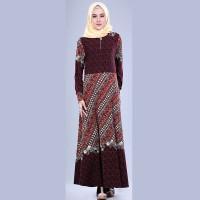 Gamis Maxi Dress Muslim Jersey Batik Maroon Original Branded Garsel